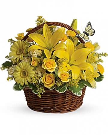 Spring has Sprung Mixed flowers in a wicker basket
