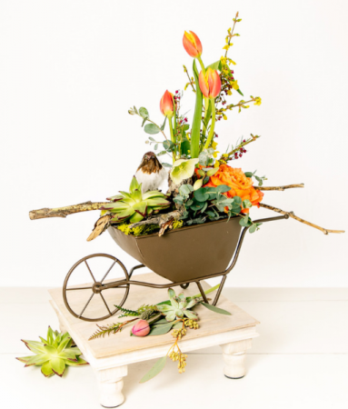 Spring in a barrow Custom arrangement