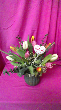 T10V Spring Time Arrangement of 10 mixed Tulips with Baby Breath and Eucalyptus