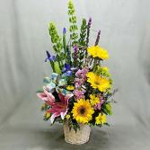Spring in Full Bloom Basket of Flowers