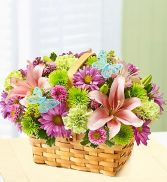 Spring Inspiring Basket Fresh Flowers
