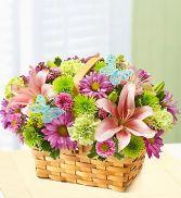 Spring Inspiring Basket Fresh Flowers