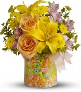 """Exclusively at Flowers Today Florist Spring Jelly Bean Surprise """"Keepsake Container"""""""