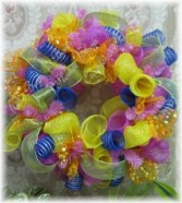Spring Mesh Wreath A Buds 'n Bows Design