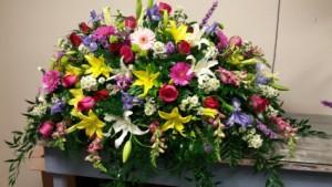 Spring Mix  Casket Arrangement  in Auburn, AL | AUBURN FLOWERS & GIFTS