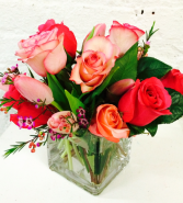 Spring Mix Mix of roses, tulips and seasonal greens in cube