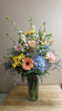 Spring Mix Vase Hydrangea, gerbera daisy, larkspur, daisy, carnation and filler