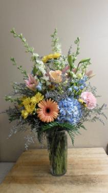 Spring Mix Vase Hydrangea, gerbera daisy, larkspur, daisy, carnation and filler