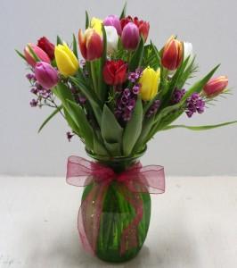 Spring Mixed Tulip vase