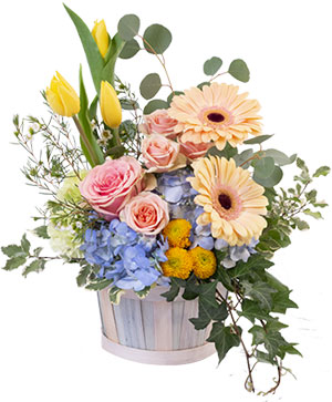 Spring Morning Basket Arrangement in Darien, CT | DARIEN FLOWERS