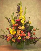 spring pastels funeral arrangement