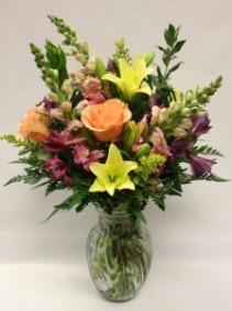 Spring Peach Vase Arrangement