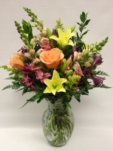 Spring Peach Vase Arrangement
