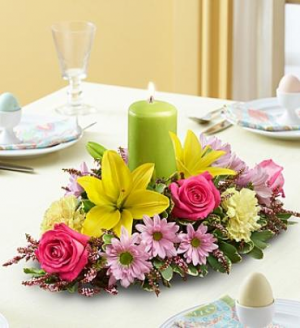Spring Pillar Candle Centerpiece in Croton On Hudson, NY | Cooke's Little Shoppe Of Flowers