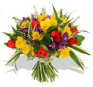 SPRING RAINBOW  BOUQUET WITH VASE in Garrett Park, MD | ROCKVILLE FLORIST & GIFT BASKETS