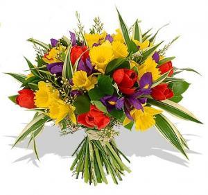 Spring flower designs rockville florist gift baskets garrett park md spring rainbow bouquet with vase in garrett park md rockville florist gift baskets mightylinksfo