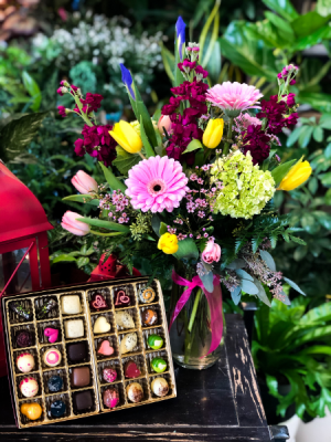Spring Revival  Tall Floral Arrangement with Chocolates  in Iowa City, IA | Every Bloomin' Thing