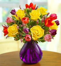 Spring Rose & Tulips Arrangement
