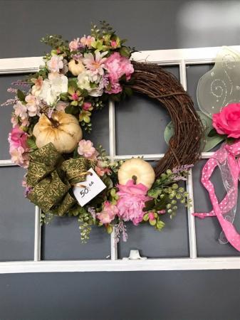 "Spring Silk Wreath 24"" Grapevine base"