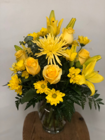 Spring Sunshine Vase arrangement