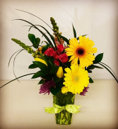 Spring Time Smiles Contemporary Yellow, Pinks and Purple Mixed Floral Design