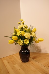 Spring Time Yellow Vased Arrangement in Skowhegan, ME | SKOWHEGAN FLEURISTE & FORMALWEAR