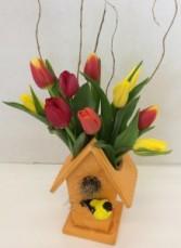 Spring Tulip Birdhouse fresh flower arrangement