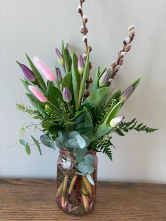 Spring Tulip Mason Jar