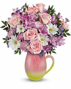 Spring Tulip Pitcher Teleflora - Two Gifts in ONE! in Springfield, IL | FLOWERS BY MARY LOU INC