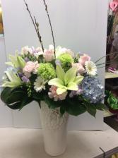 Spring vase.  Spring vase arrangement