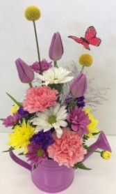 Spring Watering Can fresh flower arrangement