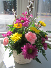 Spring Wishes Basket Arrangement