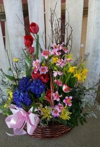 Spring Wishes Garden Basket Floral Arrangement