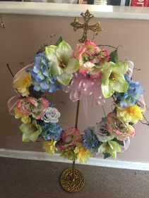 SPRING WREATH ON GOLD CROSS STAND