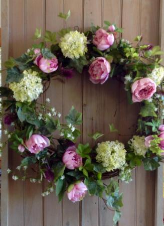 Pink and Green Wreath Permanent Door Piece