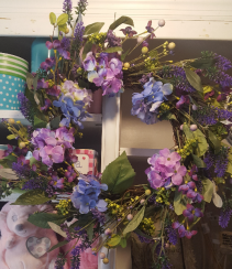 """Spring Wreath"" shades  of purples. SILK FLOWERS for a door, hang on a mirrir, etc."