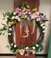 Spring Wreath with Cross Accent Silk Standing Spray