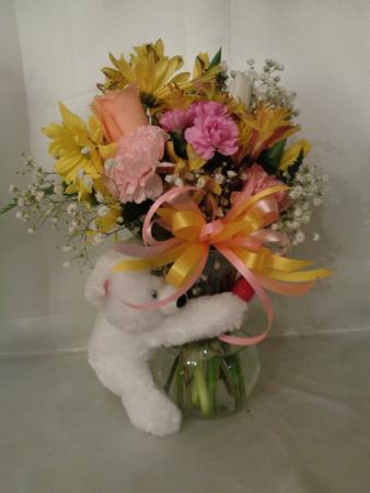 Springtime Bear Vase Arrangement