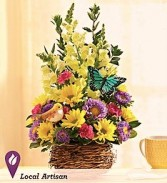 Springtime Box of Blooms With Bird and Butterfly, Basket May Vary