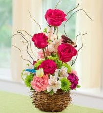 Springtime Bird's Nest Flowers Basket Arrangment