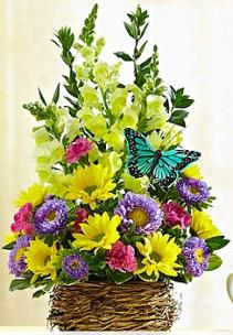 Springtime Bird's Nest of Flowers™ Arrangement