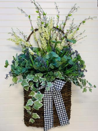Springtime Greens Artificial Door Basket