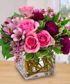 Springtime Love Square Vase arrangement