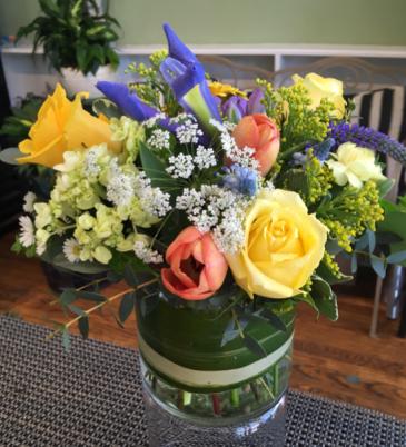 Springtime Mix Cylindar Vase Arrangement