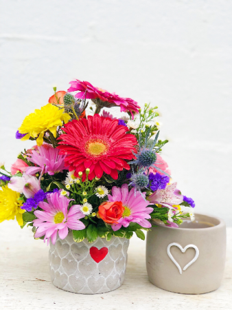 Sprinkle Of Love Concrete Vase Arrangement