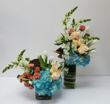 Square And Rectangle Vase Duo Centerpieces For Weddings Or Events In