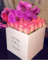 Square Box -Roses & Orchids Pink & Purple