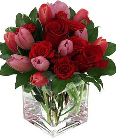 Square cube with red roses & tulips Valentine