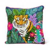 Square Tiger in Jungle Pillow