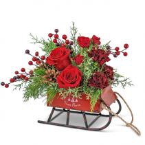 St. Nick's Keepsake Sleigh Flower Arrangement